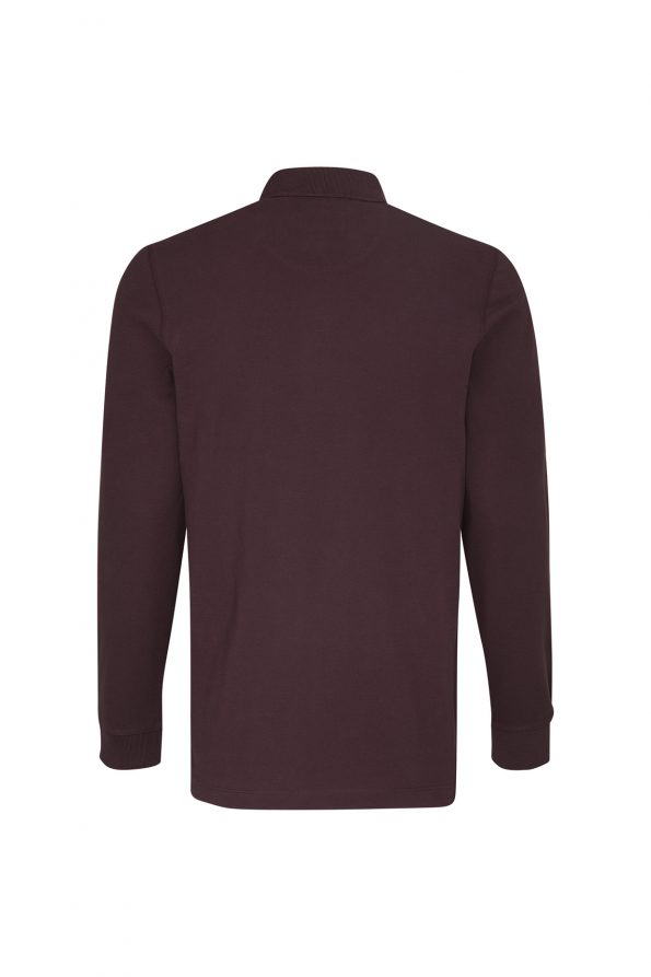 LONG SLEEVE POLO SHIRT - BORDEAUX