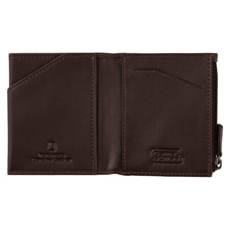 RFID WALLET WITH ZIP- BROWN