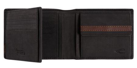 RFID WALLET- BLACK WITH BROWN DETAIL