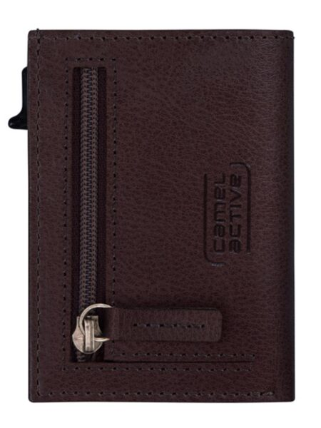 RFID CARD HOLDER SMALL WITH ZIP- BROWN