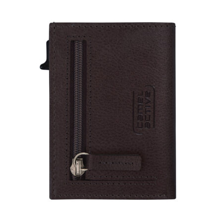RFID CARD HOLDER WITH ZIP- BROWN