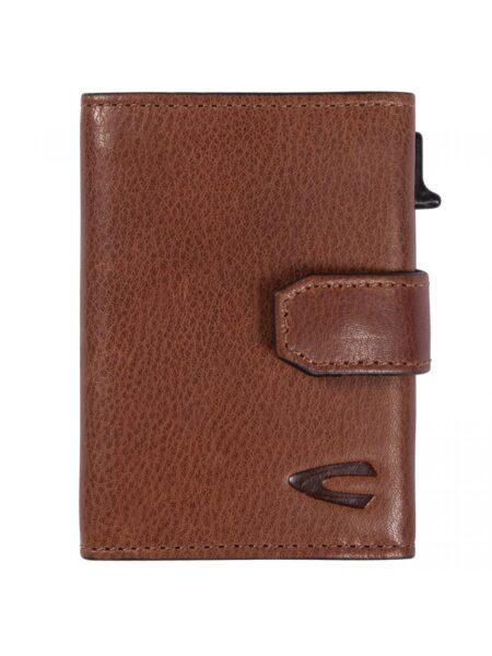 RFID CARD HOLDER CASE MEDIUM WITH ZIP- COGNAC
