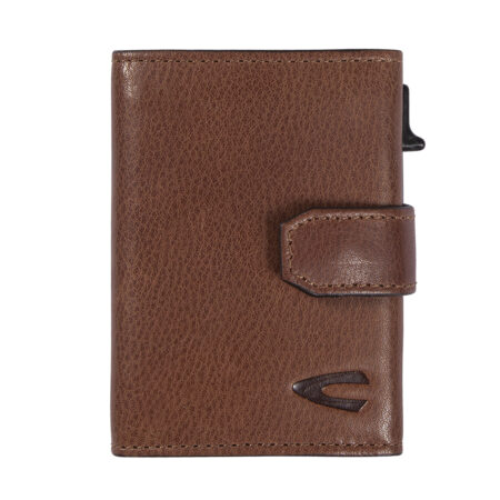 RFID CLIP CARD HOLDER WITH ZIP- COGNAC