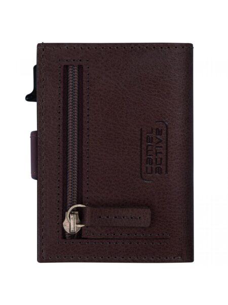 RFID CARD HOLDER CASE MEDIUM WITH ZIP- BROWN