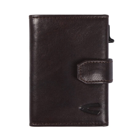 RFID CLIP CARD HOLDER WITH ZIP- BROWN