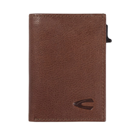RFID CARD HOLDER WITH ZIP- COGNAC