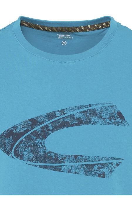 PRINTED CAMEL ACTIVE LOGO T-SHIRT- OCEAN BLUE