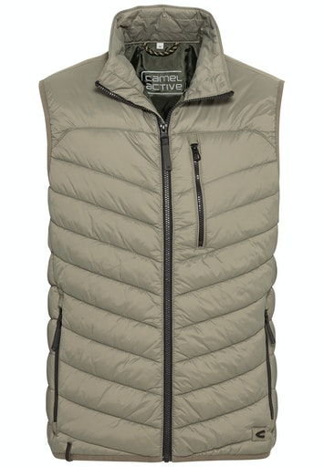 RECYCLED MATERIAL QUILTED VEST- BEIGE
