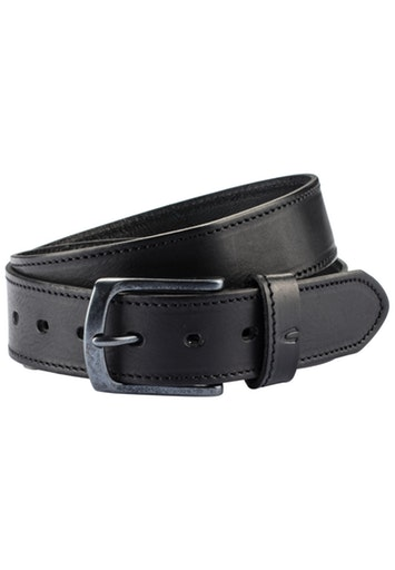 LEATHER BELT WITH STITCHING- BLACK