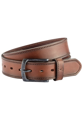 LEATHER BELT WITH STITCHING- BROWN