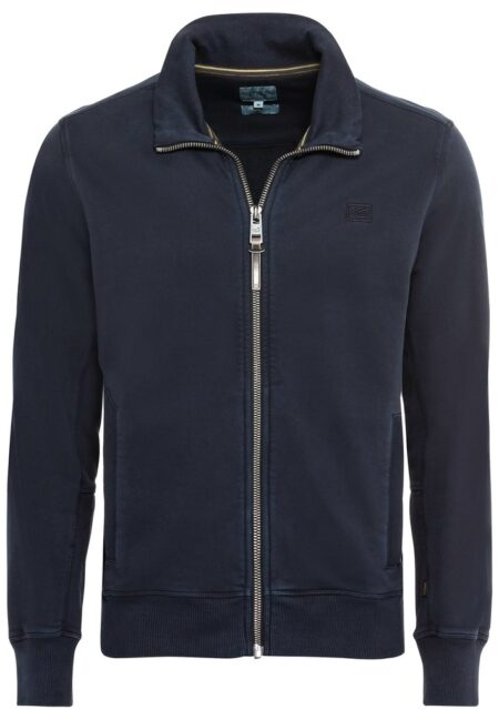 COTTON CARDIGAN WITH ZIP- BLUE
