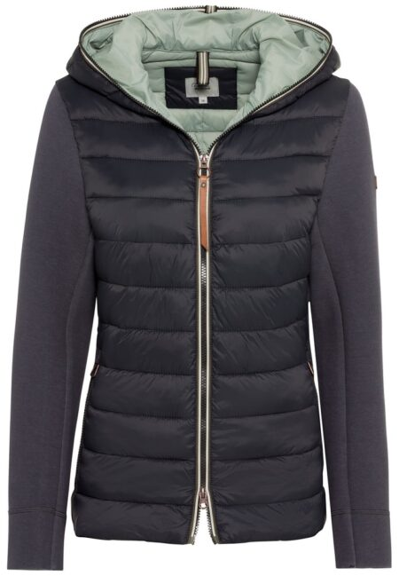 QUILTED JACKET WITH COTTON SLEEVES- ANTHRACITE